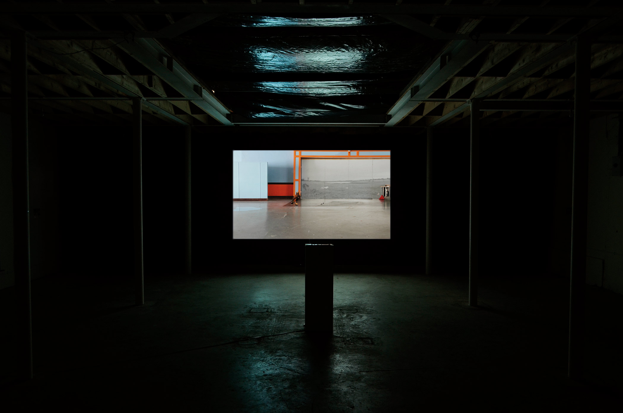 Ailbhe Ní Bhriain 'Departure' single–screen installation, video & cgi composite, colour, sound, looped, 11:48 min, sound by Pá́draig Murphy 2013/4; installation view from Ailbhe Ní Bhriain's solo exhibition at Drogheda Arts Festival, in partnership with NeXus Arts, former Methodist Schoolhouse, Drogheda, Ireland, 2015, photo by Els Borghart.