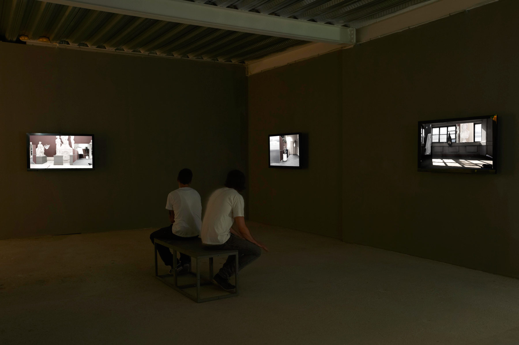 Ailbhe Ní Bhriain 'Great Good Places' four–screen installation, video & cgi composite, colour, sound, looped, sound by Pádraig Murphy, 2011, installation view at eva international 2012 'After the Future' in Limerick, Ireland, curated by Annie Fletcher.
