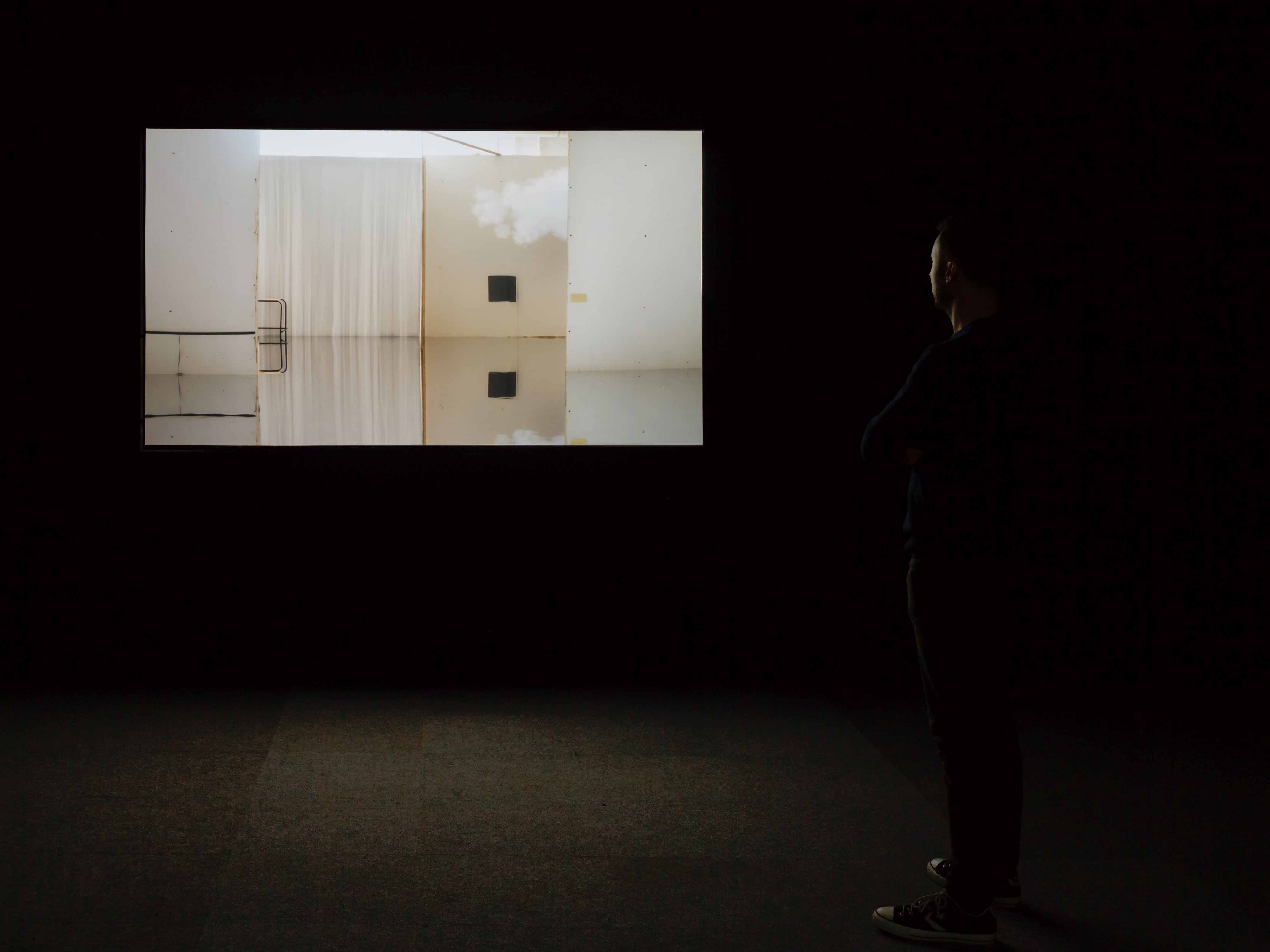 Ailbhe Ní Bhriain 'Reports to an Academy' four–screen installation, video & cgi composite, colour, sound, looped, 2015; installation view at The Royal Hibernian Academy, Dublin, Ireland, curated by Patrick T. Murphy, photograph by Mike Hannon