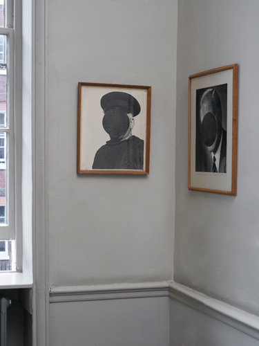 A Circle, image (left): David Gates (fisherman) 42 × 34 cm, 2013 gelatin silver photographic collage on found photo in artist's frame; (right) David Gates 'Studio A.H. Firmin' 53 × 43 cm 2013, gelatin silver photographic collage on found photo in artist's frame; installation photography by Andy Keate