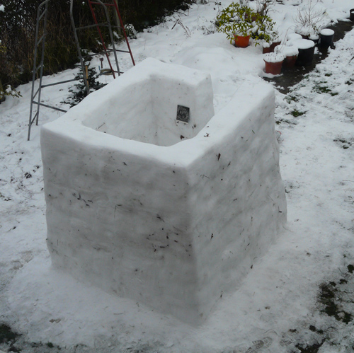 David Gates 'Snow Hut' snow, ice, found image, 100×100×100cm (approx) January 2013, guest curator: Paul Feigelfeld