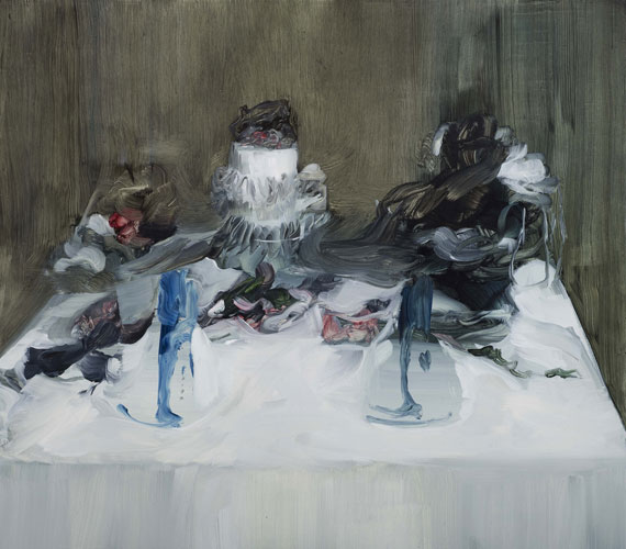 "Lara Viana: 'Untitled (table 4)' 2009, oil on board (35 x 40cm/14"" x 16"") photo by Andy Keate"