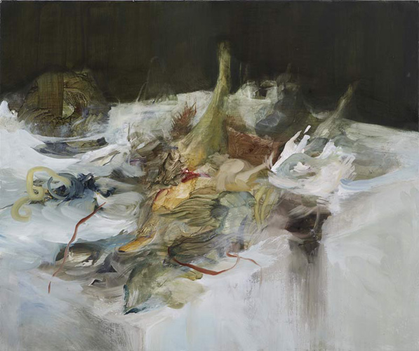 Lara Viana 'Untitled (table 6)' oil on canvas 50×60 cm (20×24in) 2010, photograph by Andy Keate