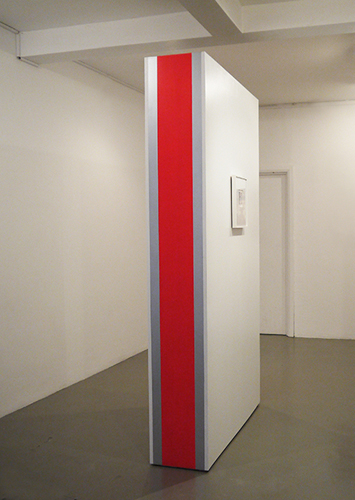 Lizi Sánchez 'Wall' acrylic, wood, 230cm×120cm×35cm, installation view from 'White, with Red and Silver Stripes' Standpoint Gallery, 2012