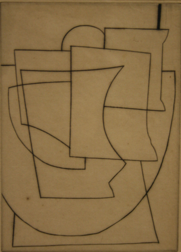 Ben Nicholson 'Still Life' etching on paper, 19×13.5cm 1948, courtesy of the British Council Collection