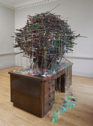 Mhairi Vari 'Hub – John Street' (Gazing Ball, hot–melt glue, desk, twigs 250(h)×180×180cm 2011) photo by Andy Keate