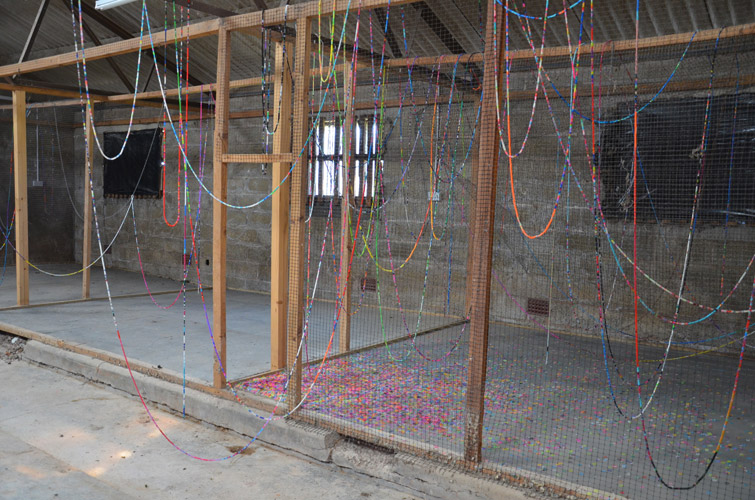 Mhairi Vari 'perpetual doubt, constant becoming (Lydney)' loom bands, installation view at Lydney Park Estate, Gloucestershire, UK, 2015