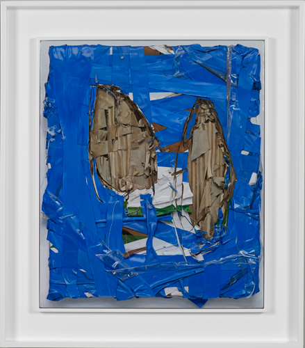 Neil Gall 'Viking' oil on gesso panel, 50×42cm 2015, presented in an off–white spray–painted double tray frame: 65×57cm, photography by Andy Keate