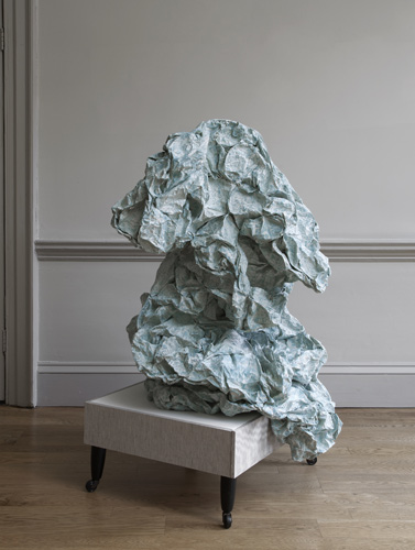 Rachel Adams 'Ottoman' wood, fabric, glue, photocopier paper, gouache, furniture legs, 145(h)×90×90cm (green) 2011, photo by Andy Keate at domobaal gallery