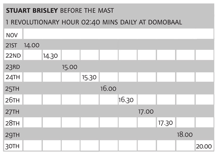 Stuart Brisley 'Before The Mast' performance timetable for 21–30 November 2013 at domobaal