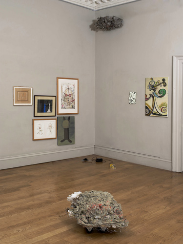 Time is a Sausage (installation view by Andy Keate, works from left to right by: Marino Marini, Prunella Clough, John Strutton, Miho Sato, Phyllida Barlow, Ron Haselden, Rachel Adams, Ansel Krut)